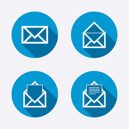 Mail envelope icons. Message document symbols. Post office letter signs. Circle concept web buttons. Vector