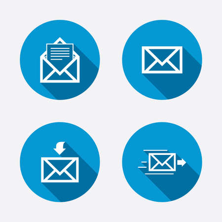 incoming: Mail envelope icons. Message document delivery symbol. Post office letter signs. Inbox and outbox message icons. Circle concept web buttons. Vector