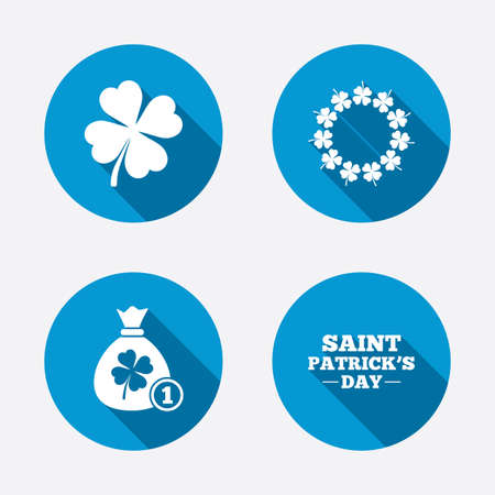 clover buttons: Saint Patrick day icons. Money bag with coin and clover sign. Wreath of quatrefoil clovers. Symbol of good luck. Circle concept web buttons. Vector