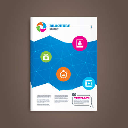 seconds: Brochure or flyer design. Photo camera icon. Flash light and video frame symbols. Stopwatch timer 2 seconds sign. Human portrait photo frame. Book template. Vector