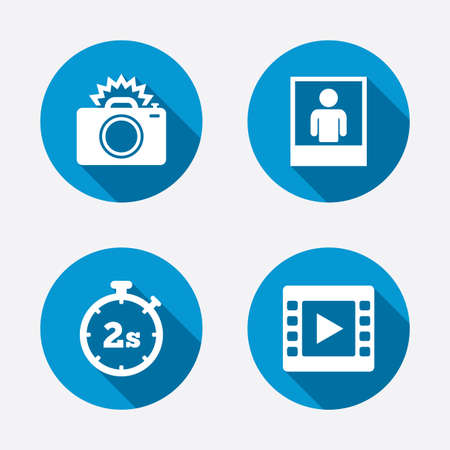 flash light: Photo camera icon. Flash light and video frame symbols. Stopwatch timer 2 seconds sign. Human portrait photo frame. Circle concept web buttons. Vector
