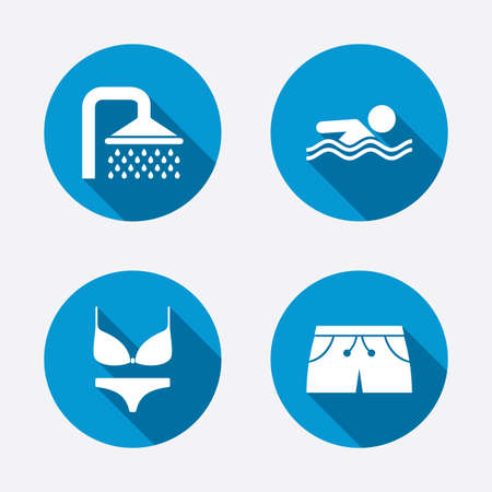 short wave: Swimming pool icons. Shower water drops and swimwear symbols. Human swims in sea waves sign. Trunks and women underwear. Circle concept web buttons. Vector