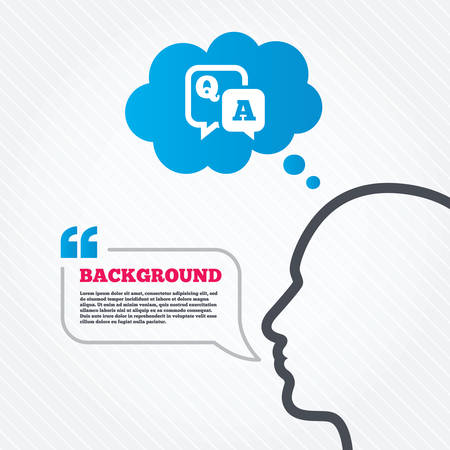 qa: Head with speech bubble. Question answer sign icon. Q&A symbol. Think background with quotes and seamless texture. Vector