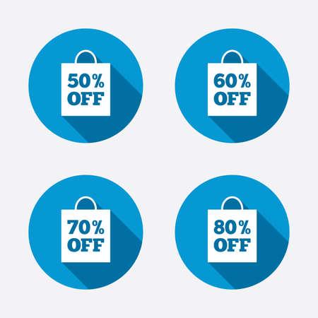 50 60: Iconos de la venta de etiquetas bolsa. Descuento s�mbolos oferta especial. 50%, 60%, 70% y 80% signos de porcentaje apagado. Botones concepto de web de c�rculo. Vector