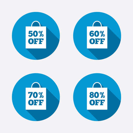 60 70: Sale bag tag icons. Discount special offer symbols. 50%, 60%, 70% and 80% percent off signs. Circle concept web buttons. Vector