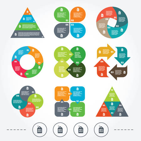 50 to 60: Circle and triangle diagram charts. Sale price tag icons. Discount special offer symbols. 50%, 60%, 70% and 80% percent sale signs. Background with 4 options steps. Vector