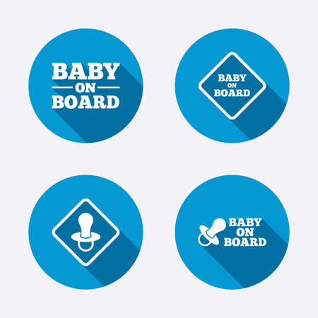 nipple: Baby on board icons. Infant caution signs. Nipple pacifier symbol. Circle concept web buttons. Vector Illustration