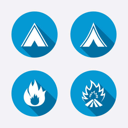 long weekend: Tourist camping tent icons. Fire flame sign symbols. Circle concept web buttons. Vector