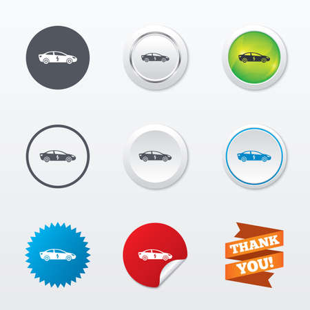 electric vehicle: Electric car sign icon. Sedan saloon symbol. Electric vehicle transport. Circle concept buttons. Metal edging. Star and label sticker. Vector