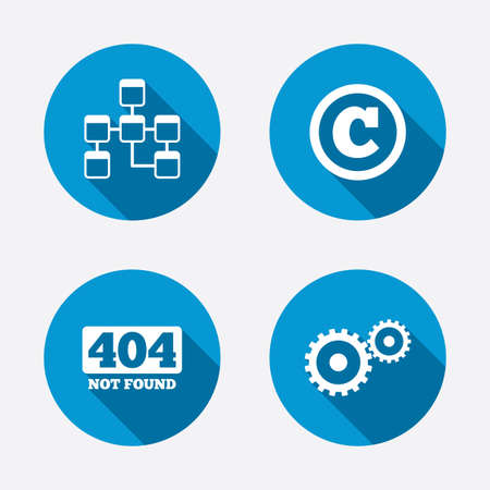 mysql: Website database icon. Copyrights and gear signs. 404 page not found symbol. Under construction. Circle concept web buttons. Vector