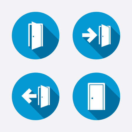 Puertas iconos. Salida de emergencia con símbolos de flecha. Las señales de salida de incendios. Botones concepto de web de círculo. Vector Ilustración de vector
