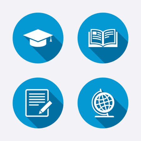 web cap: Pencil with document and open book icons. Graduation cap and geography globe symbols. Learn signs. Circle concept web buttons. Vector Illustration