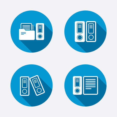 accounting logo: Accounting icons. Document storage in folders sign symbols. Circle concept web buttons. Vector