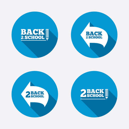 vector studies: Back to school icons. Studies after the holidays signs. Pencil symbol. Circle concept web buttons. Vector Illustration