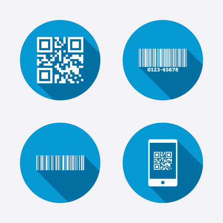 Bar and Qr code icons. Scan barcode in smartphone symbols. Circle concept web buttons. Vector