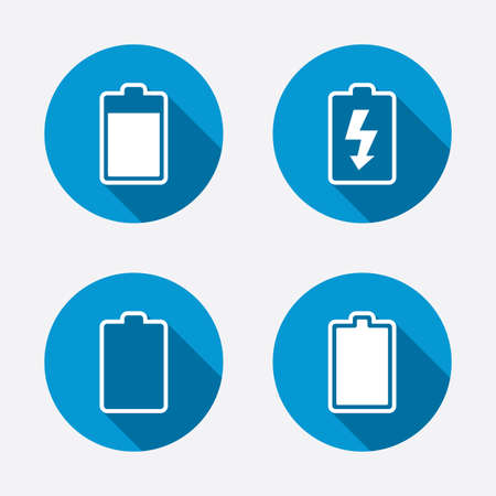 stored: Battery charging icons. Electricity signs symbols. Charge levels: full, empty. Circle concept web buttons. Vector Illustration