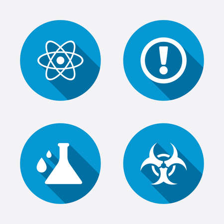 Attention and biohazard icons. Chemistry flask sign. Atom symbol. Circle concept web buttons. Vector Vector