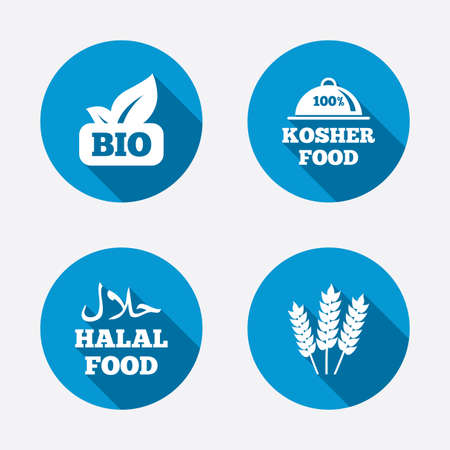 Natural Bio food icons. Halal and 100% Kosher signs. Gluten free agricultural symbol. Circle concept web buttons. Vector Vector