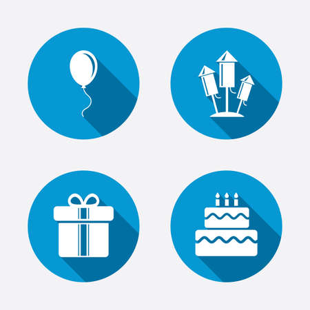 Birthday party icons. Cake and gift box signs. Air balloons and fireworks rockets symbol. Circle concept web buttons. Vector