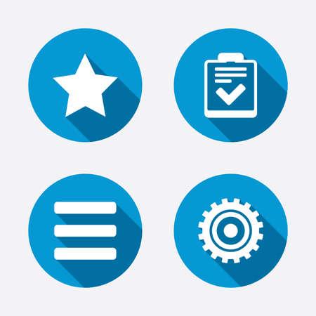 Ster favoriet en menulijst iconen. Checklist en tandrad versnelling teken symbolen. Cirkel concept web knoppen. Vector