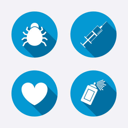 syringe inoculation: Bug and vaccine syringe injection icons. Heart and spray can sign symbols. Circle concept web buttons. Vector