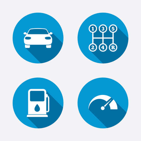 Car Transmission: Transport icons. Car tachometer and manual transmission symbols. Petrol or Gas station sign. Circle concept web buttons. Vector