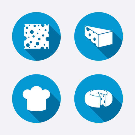 blue cheese: Cheese icons. Round cheese wheel sign. Sliced food with chief hat symbols. Circle concept web buttons. Vector Illustration