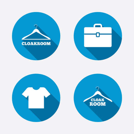cloakroom: Cloakroom icons. Hanger wardrobe signs. T-shirt clothes and baggage symbols. Circle concept web buttons. Vector