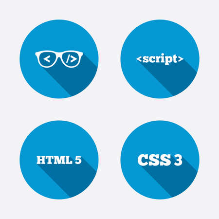 css: Programmer coder glasses icon. HTML5 markup language and CSS3 cascading style sheets sign symbols. Circle concept web buttons. Vector