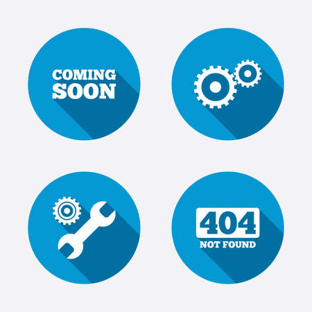 coming soon: Coming soon icon. Repair service tool and gear symbols. Wrench sign. 404 Not found. Circle concept web buttons. Vector Illustration
