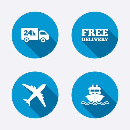 set free: Cargo truck and shipping icons. Shipping and free delivery signs. Transport symbols. 24h service. Circle concept web buttons. Vector