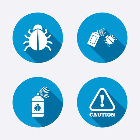 insanitary: Bug disinfection icons. Caution attention symbol. Insect fumigation spray sign. Circle concept web buttons. Vector