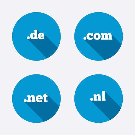nl: Top-level internet domain icons. De, Com, Net and Nl symbols. Unique national DNS names. Circle concept web buttons. Vector