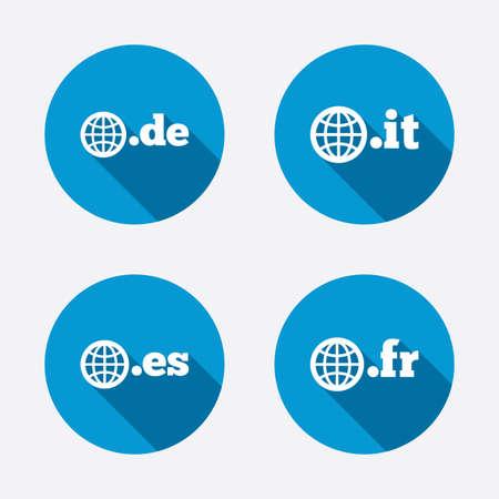 vector es: Top-level internet domain icons. De, It, Es and Fr symbols with globe. Unique national DNS names. Circle concept web buttons. Vector