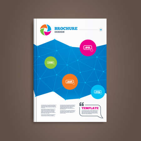 dns: Brochure or flyer design. Top-level internet domain icons. Com, Eu, Net and Org symbols with hand pointer. Unique DNS names. Book template. Vector Illustration
