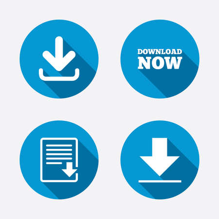receive: Download now icon. Upload file document symbol. Receive data from a remote storage signs. Circle concept web buttons. Vector Illustration