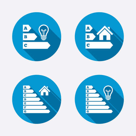 Energy efficiency icons. Lamp bulb and house building sign symbols. Circle concept web buttons. Vector Vector