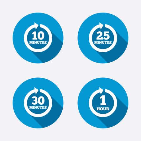 mantenimiento: Cada 10, 25, 30 minutos y los iconos de 1 hora. Completo rotaci�n s�mbolos de flecha. Signos proceso iterativo. Botones concepto de web de c�rculo. Vector