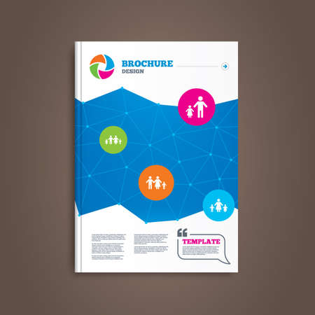 family with two children: Brochure or flyer design. Family with two children icon. Parents and kids symbols. One-parent family signs. Mother and father divorce. Book template. Vector
