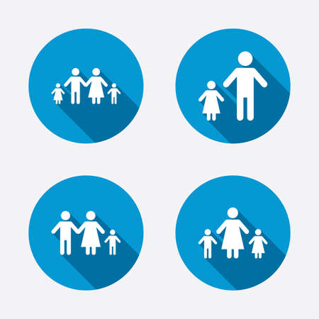 one parent: Family with two children icon. Parents and kids symbols. One-parent family signs. Mother and father divorce. Circle concept web buttons. Vector