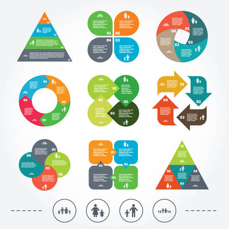 orphan: Circle and triangle diagram charts. Large family with children icon. Parents and kids symbols. One-parent family signs. Mother and father divorce. Background with 4 options steps. Vector
