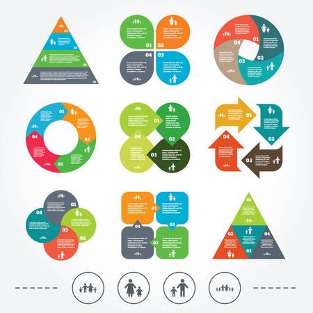 famiglia numerosa: Circle e diagramma triangolo grafici. Grande famiglia con l'icona dei bambini. Genitori e bambini simboli. Segni di famiglia con un solo genitore. Madre e padre divorzio. Sfondo con 4 opzioni gradini. Vettore