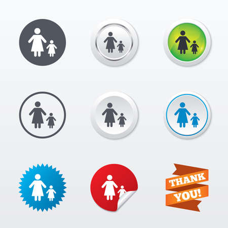 family with one child: One-parent family with one child sign icon. Mother with daughter symbol. Circle concept buttons. Metal edging. Star and label sticker. Vector