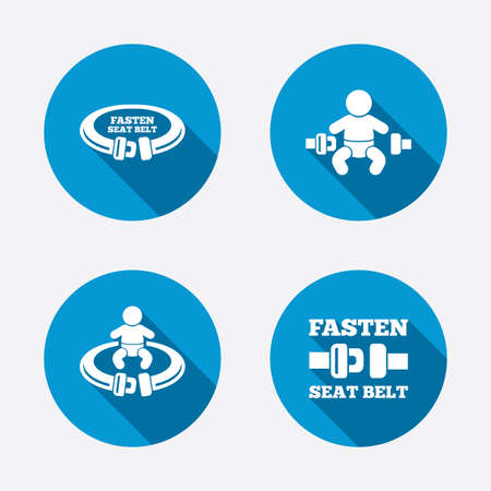 safety belt: Fasten seat belt icons. Child safety in accident symbols. Vehicle safety belt signs. Circle concept web buttons. Vector Illustration
