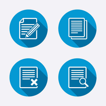 File document icons. Search or find symbol. Edit content with pencil sign. Remove or delete file. Circle concept web buttons. Vector Vector