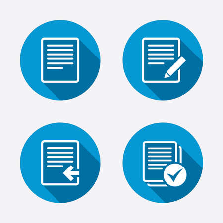 File document icons. Upload file symbol. Edit content with pencil sign. Select file with checkbox. Circle concept web buttons. Vector Vector