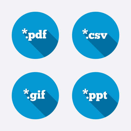Document icons. File extensions symbols. PDF, GIF, CSV and PPT presentation signs. Circle concept web buttons. Vector