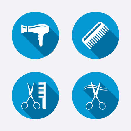 cut hair: Hairdresser icons. Scissors cut hair symbol. Comb hair with hairdryer sign. Circle concept web buttons. Vector