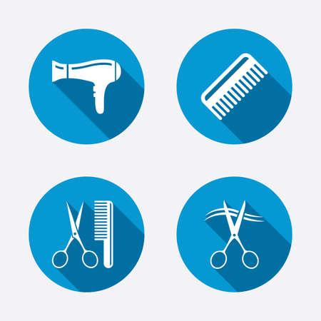 comb hair: Icone Parrucchiere. Le forbici hanno tagliato simbolo capelli. Pettine capelli con phon segno. Cerchio concetto pulsanti web. Vettore