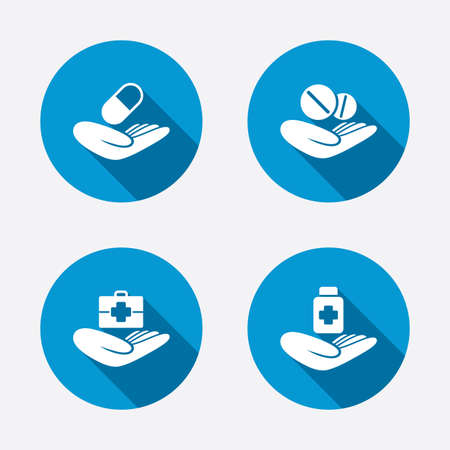 doctors with pills: Helping hands icons. Medical health insurance symbols. Drugs pills bottle signs. Medicine tablets. Circle concept web buttons. Vector